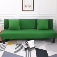 Dark Green All Inclusive Slip Resistant Armless Sofa Cover Folding Sofa Bed Cover Removable Elastic Stretch