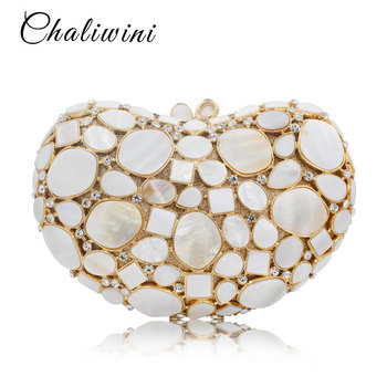 Luxury White Marble Heart Shape Precious stone Crystal Evening Bags Cocktail bride Wedding Clutches Handbags banquet Bags