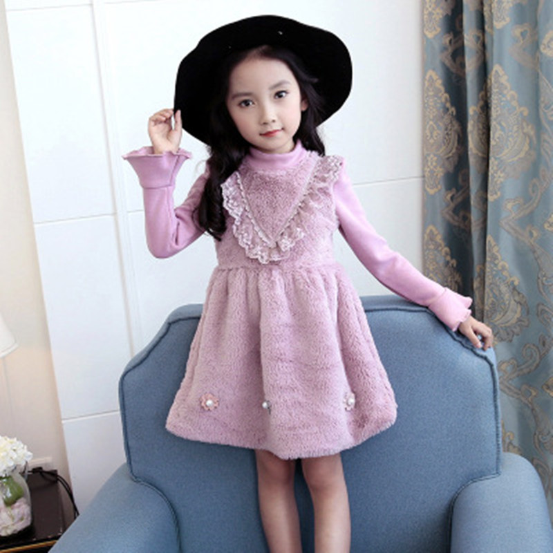 Winter Girls Dress Flower Baby Girl Wedding Party Dress Children Velvet Warm Thick Lace Princess Dresses Girls Kids Clothing summer kids girls lace princess dress toddler baby girl dresses for party and wedding flower children clothing age 10 formal