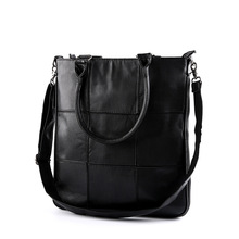 Simple Big Plaid Patchwork Men Tote Bag Street Leisure Fashion Single Shoulder PU Leather Geometric Handbag Stylish Crossbody
