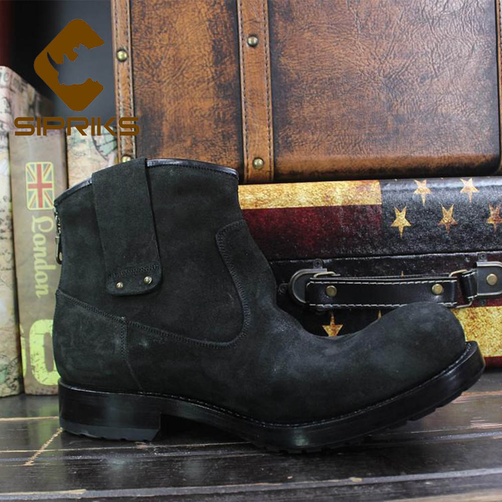 4d50daaf78f US $274.5 25% OFF|Aliexpress.com : Buy Sipriks Mens Zip Boots Imported  Italy Cow Suede Black Cowboy Boots Custom Goodyear Welted Ankle Boot Big  Size ...