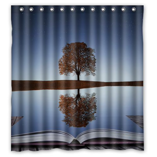 The Shadow Of Tree And Book Customize Create Design Bath Waterproof Bathroom Shower Curtains 48x72 60x72 66x72 Inches In From Home