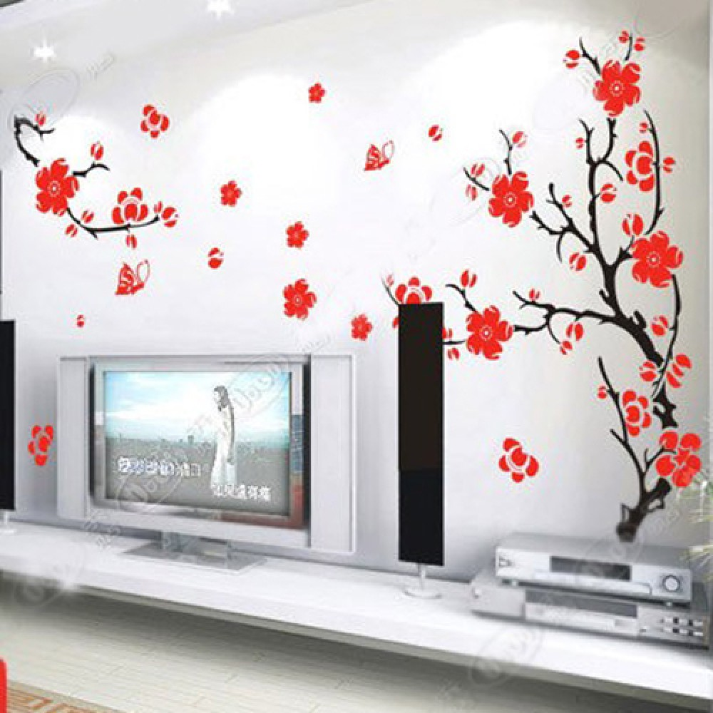 Plum Blossom Flowers Wall Stickers Plum Tree with two Branches Wall Decals Flower Stickers Home Decors Wall Papers G0XY8029