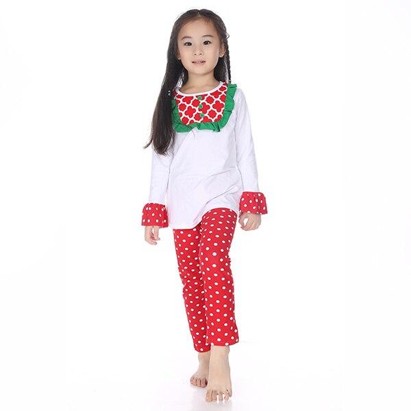 Girls Santa Outfits Children Kids Quatrefoil Outfits Child Boutique White  Christmas Clothes Set Matching Red Polka - Girls Santa Outfits Children Kids Quatrefoil Outfits Child Boutique