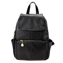Women Shoulder Bag School Bag Black Girl's Women's Travel Artificial leather Backpack