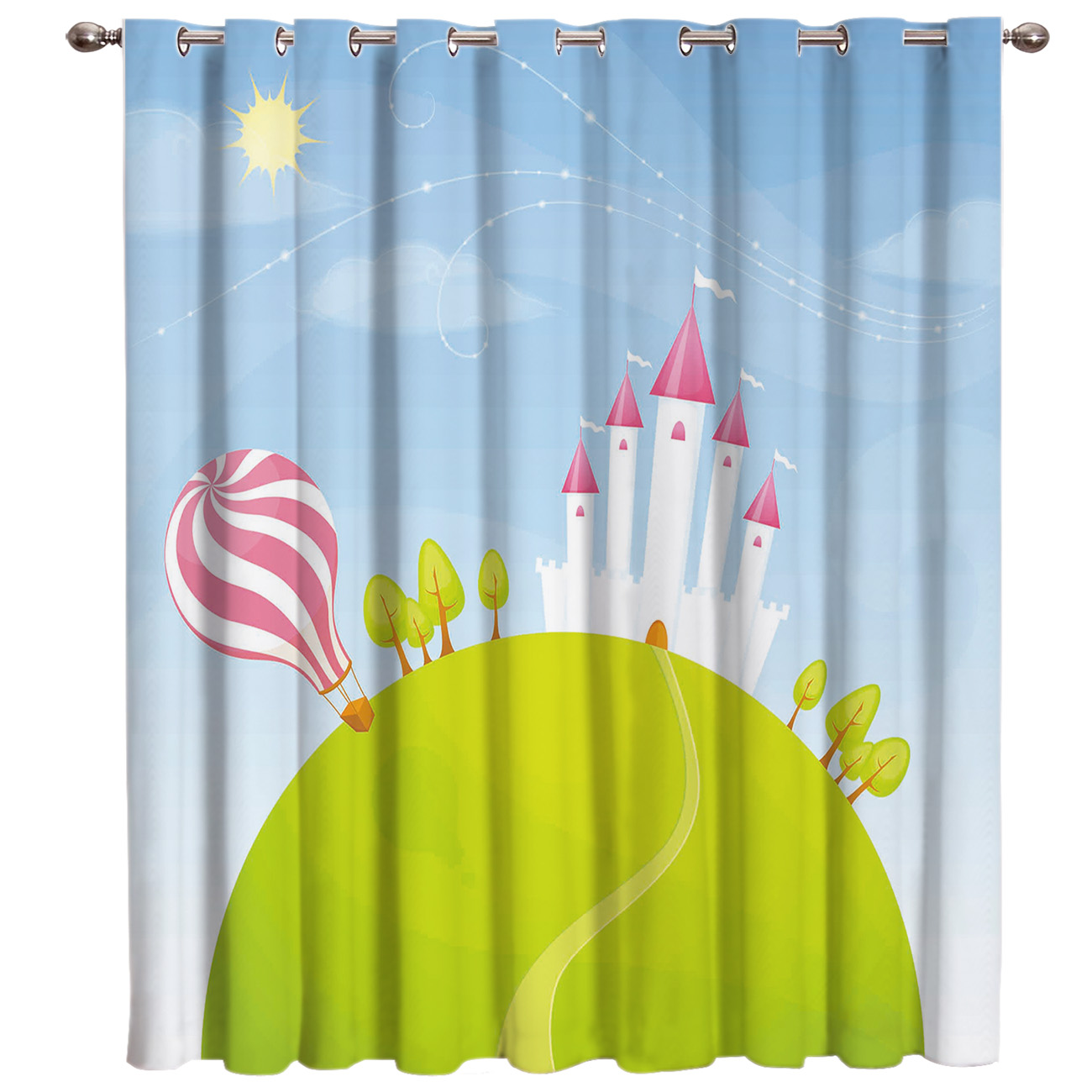 Cartoon Hot Balloon Castle House Window Treatments Curtains Valance Living Room Blackout Decor Kids Curtain Panels With Grommets