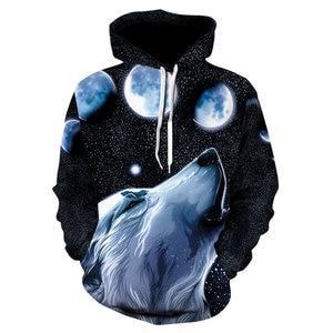 Image 2 - 2018 nowe bluzy z kapturem wolf męska bluza z kapturem jesienno zimowa bluza z kapturem hip hopowa bluzki w stylu Casual markowa 3D głowa wilka bluza z kapturem bluza Dropship