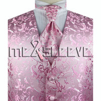 Hot seller!!! man's formal suit pink very handsome waistcoat+cravat+hanky+cufflinks