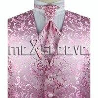 Heißer verkäufer!!! mann anzug rosa sehr schön weste + krawatte + hanky + manschettenknöpfe
