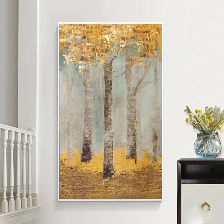 Hand Gemalte Landschaft Gold Baume Ol Gemalde Grosse Abstrakte Kunst