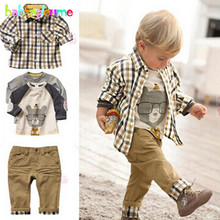 3Piece/Zero-5Years/Spring Autumn Baby Boys Suit Casual Plaid Shirt+T-shirt+Pants Boutique Kids Clothes Children Clothing Set BC1034