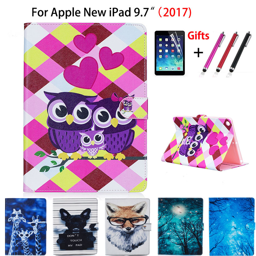 Fashion Print Case Cover For Apple New iPad 9.7 2017 A1822 Case Funda Tablet Book Soft TPU+PU Leather Stand Shell+Stylus+film for ipad mini4 cover high quality soft tpu rubber back case for ipad mini 4 silicone back cover semi transparent case shell skin