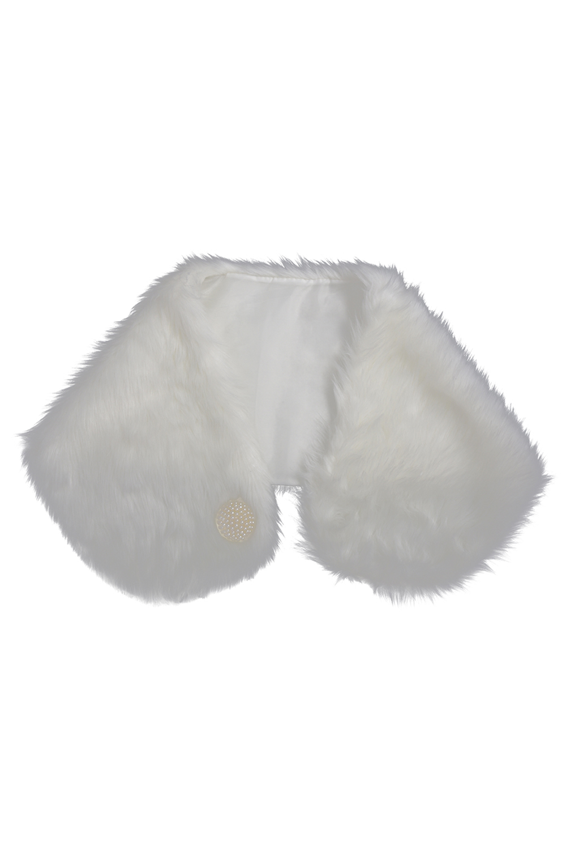 Nice Ivory Faux Fur Wrap Shawl Shrug Bolero Stole Bridal Accessory Cape