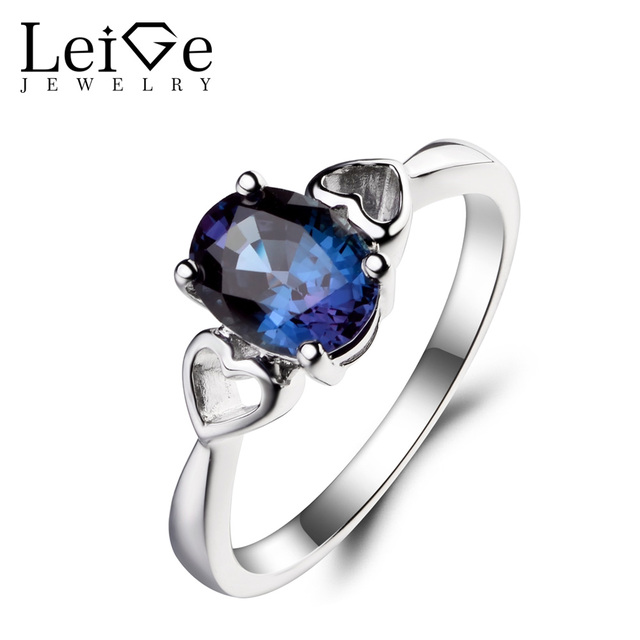 2a93d5ce0b US $81.0 40% OFF Leige Jewelry Lab Alexandrite Ring Engagement Ring Oval  Cut Color Change Gemstone June Birthstone 925 Sterling Silver Ring Gifts-in  ...