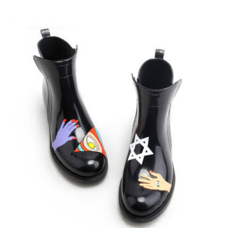 Black/Red Fashion Hand-painted Slip-on Stretch Rain Boot Waterproof Women Elastic Band Rain Boot Wine Red Boots