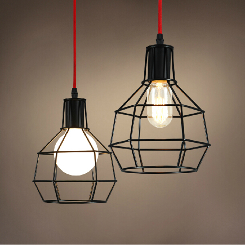 American Loft Vintage pendant light Personality Balcony Wrought Iron retro lights Edison nordic lamp industrial cage lamp vintage pendant lights iron loft lamps nordic retro light industrial style cage pendant lamp restaurant lighting pendant lustre