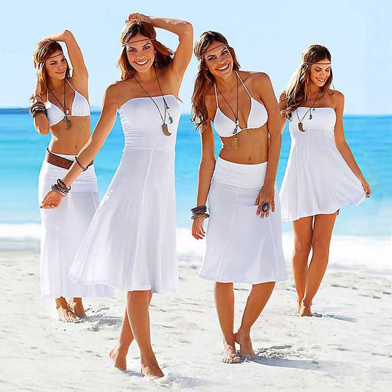 b8487a0218562 All Female Favorite 11 Colors 2018 Popular Tube Top Dress Women Sexy Beach  Multi Wear Cover