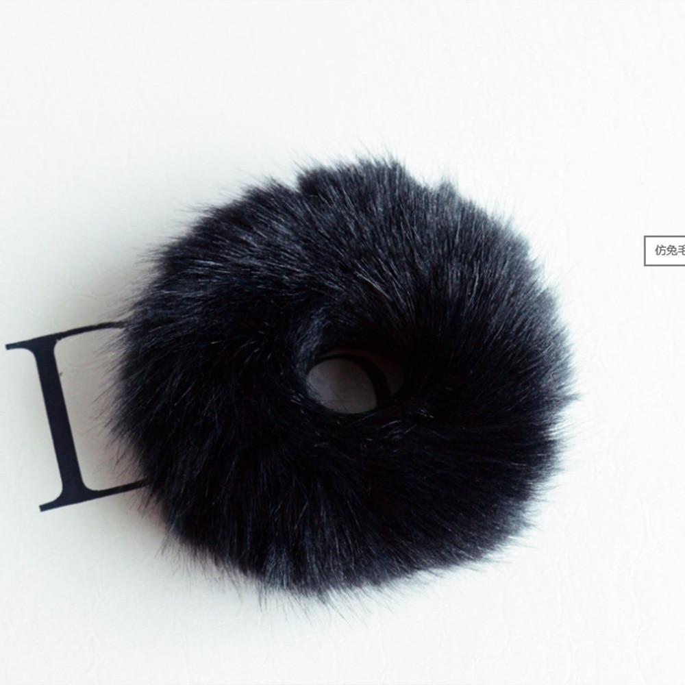 Moda 1 adet Kabarık Faux Fur Kürklü Scrunchie Elastik Saç Halka - Elbise aksesuarları - Fotoğraf 4