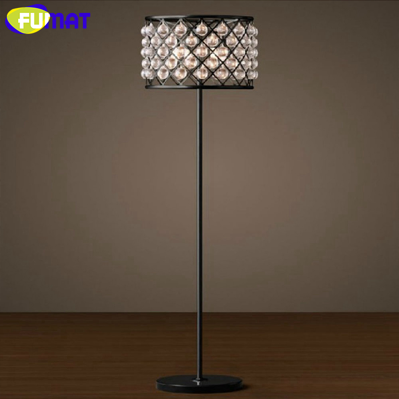 FUMAT Vintage Crystal Floor Lamp Iron Table Lamp Floor Light LED Light Bedside Lamp for Living Room Bedroom Study Free Shipping french garden vertical floor lamp modern ceramic crystal lamp hotel room bedroom floor lamps dining lamp simple bedside lights