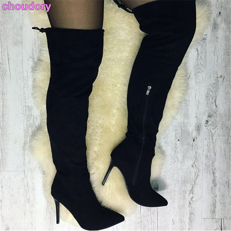 European Stylish Lace-up Flock Long Boots For Autumn Winter Thin High Heel Thigh High Boots Pointed Toe Shoes Zipper Boots stylish european autumn
