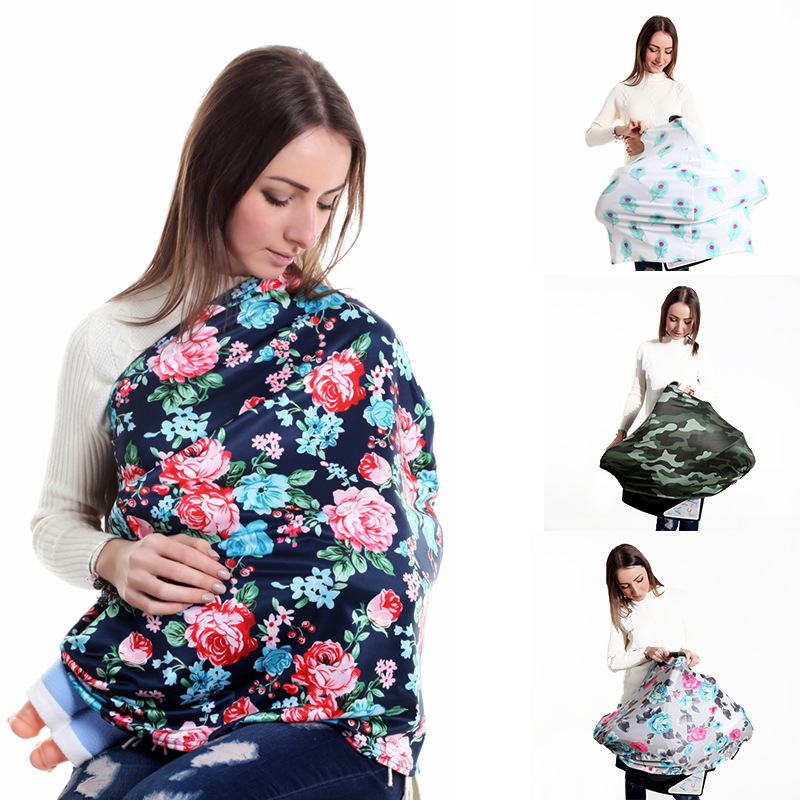 Nursing Cover Baby Car Seat Canopy Breastfeeding Scarf Breathable Striped Carseat Covers ...