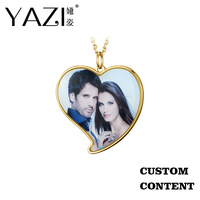 YAZI Unique Heart Necklace Custom Photo Print in Frame DIY Necklace Gold Color Personalize Custom Jewelry Memory Gift For Lovers