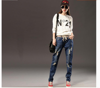 Elastic Waist Hole Jeans With Female Straight Legged Relaxed Casual Baggy Jeans Girls