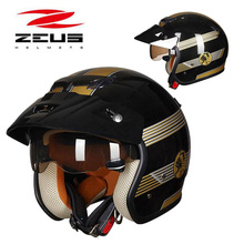 2019 Winter New ZEUS Safety protection Half Face Motorcycle Helmet ZS 381c ABS Prince Retro Motorbike Helmets Built in lens