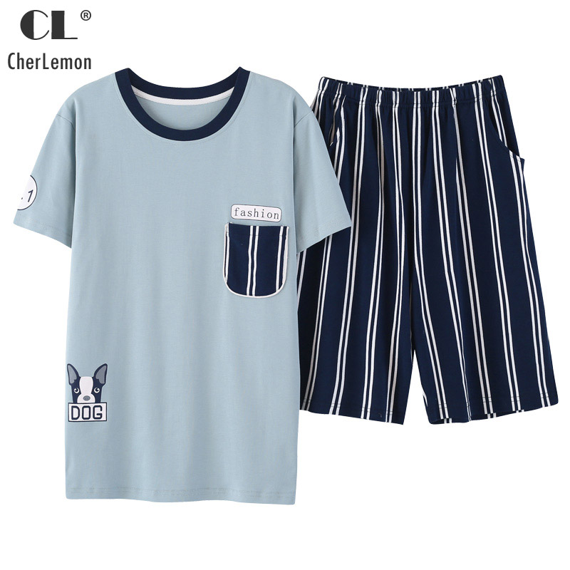 CherLemon Mens Cotton Short Pajamas Fashion Dog Pattern Top And Blue White Stripes Shorts Sets Summer Loose Casual Home Wear