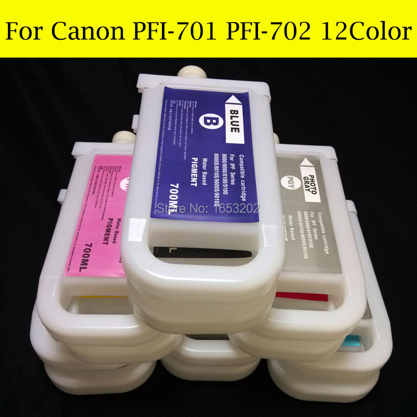 12 Pieces/Lot Large Format Ink Cartridge For Canon PFI-701 PFI-702 For Canon iPF8100 iPF9100 IPF8110 IPF9110 Printer 12 pieces lot with chip refill ink cartridge for canon pfi 101 for canon ipf5000 ipf6000 printer