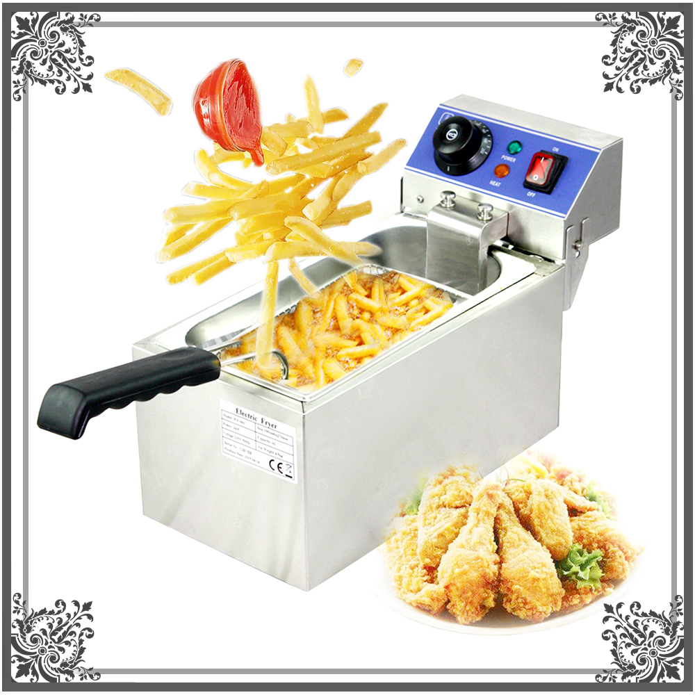 6L Commercial Stainless Steel Electric Deep Fryer for Churros French Fries Chicken Twister Spiral Tornado Potato 220V 220v 3 2l lcd intelligent electric deep fryer oil free smokeless french fries machine for home using electric air fryer