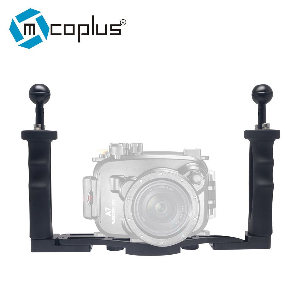 Mcoplus Dual Handle Aluminium Tray Stabilizer Rig for Underwater Camera Housing Case Diving for GoPro Canon Nikon Sony Fujifilm все цены