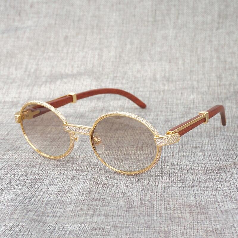 Natürliche Buffalo Horn Sonnenbrille Diamant Holz Gafas Männer Stein Holz Shades Runde Brillen für Outdoor Club Zubehör - 4