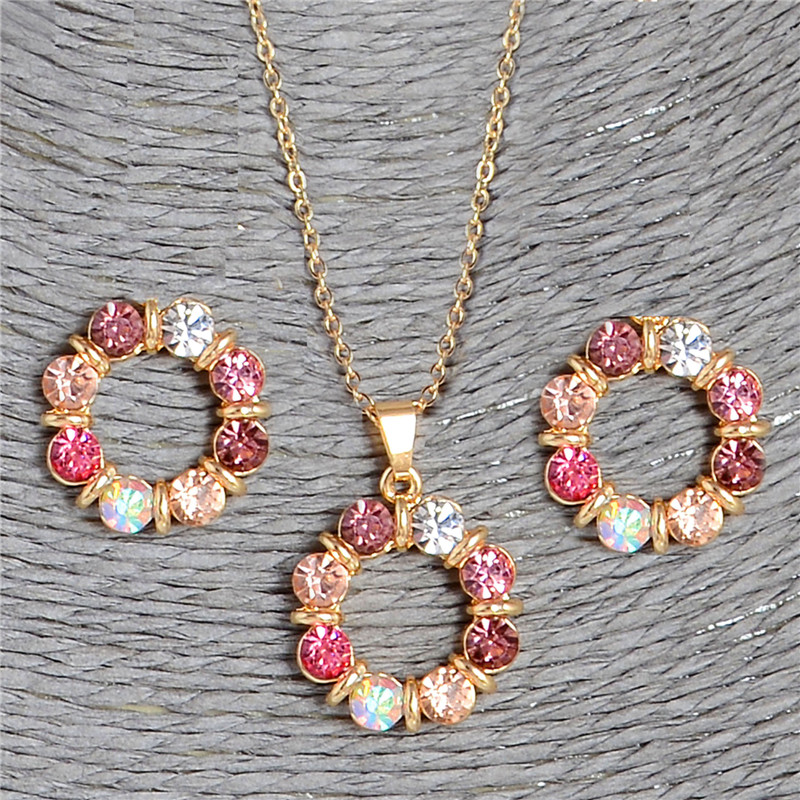 Hesiod 2 pcs/Set Gold Color Sweet Pink Round Circle Shape Pink Color Austrian Crystal Necklace Earring Jewelry Sets For Women(China)