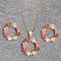 2 pçs/set Banhado A Ouro Rosa Doce Forma de Círculo Rodada AB Cor de Cristal Austríaco Colar Brinco Conjuntos de Jóias Para As Mulheres