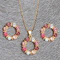 2 pcs/Set Gold Plated Sweet Pink Round Circle Shape AB Color Austrian Crystal Necklace Earring  Jewelry Sets For Women