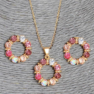 Hesiod Crystal Necklace Earring Jewelry-Sets Circle-Shape Gold-Color Round Women Pink