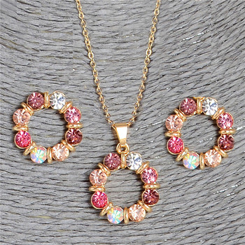 2 pcs/Set Gold Color Sweet Pink Round Circle Shape Pink Color Austrian Crystal Necklace Earring Jewelry Sets For Women Fashion Jewelry