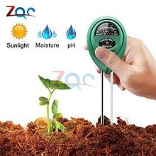 3 in 1 toprak PH su nem ölçer asitliği nem güneş işığı bahçe bitkileri çiçekler nemli test cihazı aracı