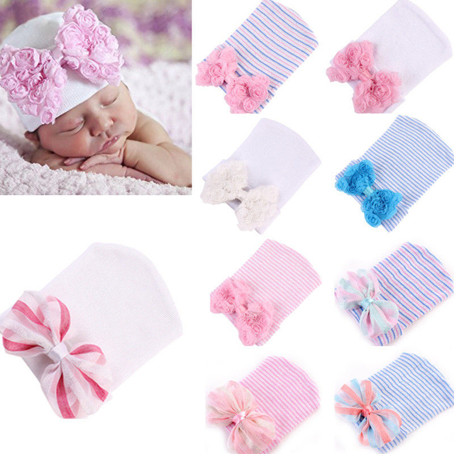2431db304a39 Cute Girls Hats Winter Warm Newborn Baby Girl Stripe Bow Knot Hat ...