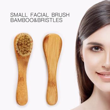 Drop Ship szczotka do mycia twarzy bambusowa szczotka do masażu przenośny rozmiar masaż oczyszczający twarz produkt do mycia twarzy pielęgnacja skóry tanie i dobre opinie Pielęgnacja twarzy Bamboo Demakijażu Brak Lanthome 1pcs Czyszczenia twarzy Kobiet HF83639 Facial Cleanser Brush