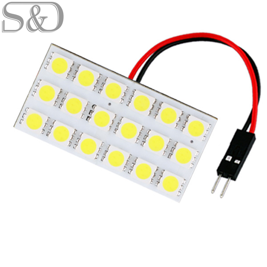 18SMD Panel led car 5050 White T10 BA9S Festoon Dome reading lights Bulb Lamp w5w c5w t4w Car Light Source parking 12V D030 lx 3w 250lm 6500k white light 5050 smd led car reading lamp w lens electrodeless input 12 13 6v
