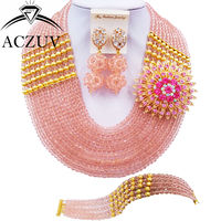 ACZUV 10 Rows Peach Crystal Fashion African Costume Jewelry Set Nigerian Wedding Beads Party Jewelry Sets 10LBJZ008