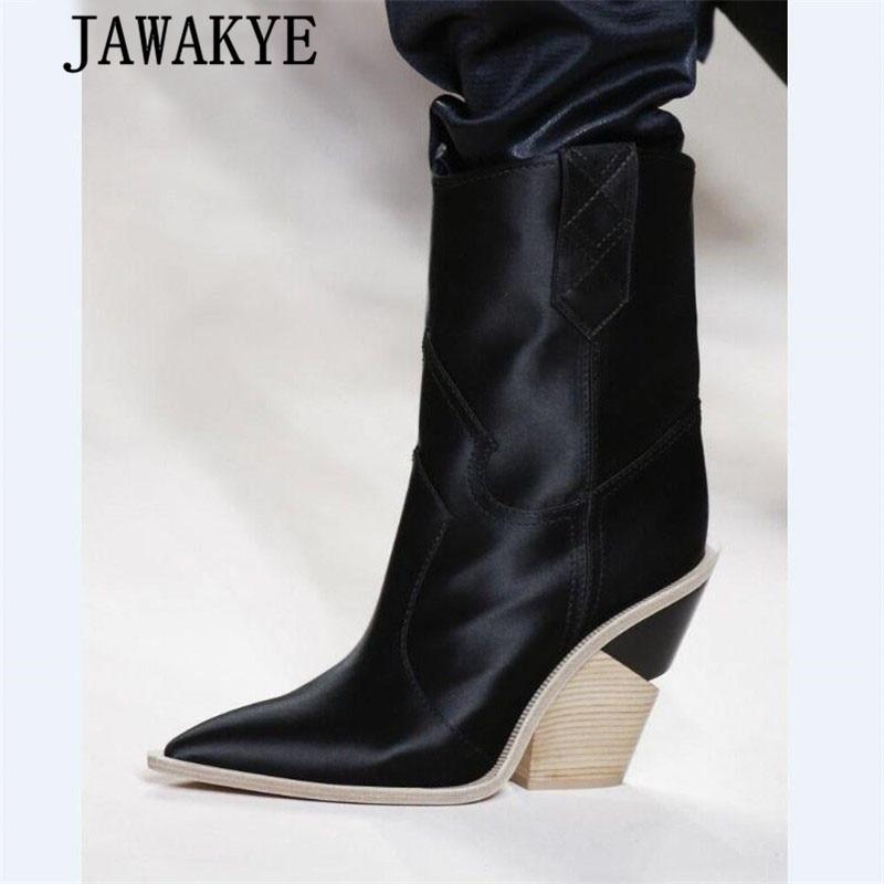 JAWAKYE Spike de tacón alto botas de dedo del pie puntiagudo Punk botas de invierno botas de cuña de las mujeres de grano de madera deslizamiento en serpiente de tobillo botas para las mujeres-in Botas hasta el tobillo from zapatos    1