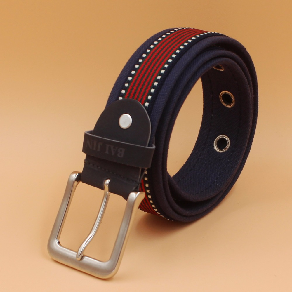 jeanas and elastic webbing canvas  belt with alloy pin buckle