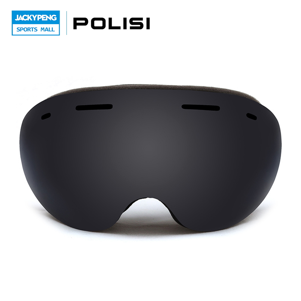 POLISI Men Women Snowboard Skate Eyewear Double Layer Anti-Fog Gray Lens Snow Skiing Goggles UV Protection Anti-Fog Ski Glasses topeak outdoor sports cycling photochromic sun glasses bicycle sunglasses mtb nxt lenses glasses eyewear goggles 3 colors