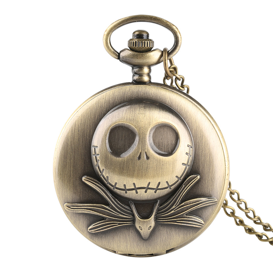 Bronze The Nightmare Before Christmas Skull Pocket Watches Necklace Quartz Fob Watch Men Necklace Gift For Children Dropshipping