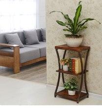 Chang Sheng retro iron wood edge a few corner sofa table coffee table living room multilayer telephone cabinet shelf.