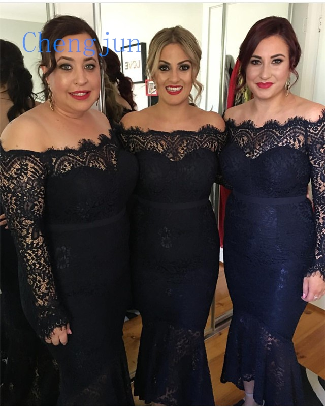 US $135.0 |Chengjun 2019 Elegant Boat Neck Lace Mermaid Navy Blue Plus Size  Bridesmaid Dress-in Bridesmaid Dresses from Weddings & Events on ...