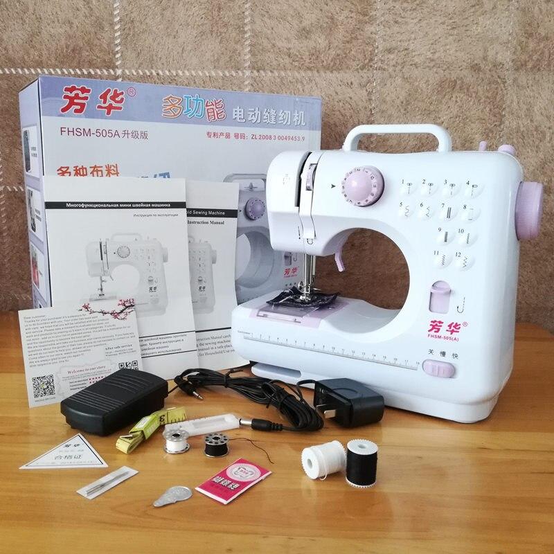 Fanghua marca mini máquina de costura 505a fábrica genuína multifunções 12 pontos substituível presser pé fonte alimentação led luz